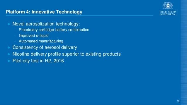 Platform 4: Innovative Technology ● Novel aerosolization technology: - Proprietary cartridge-battery combination - Improve...