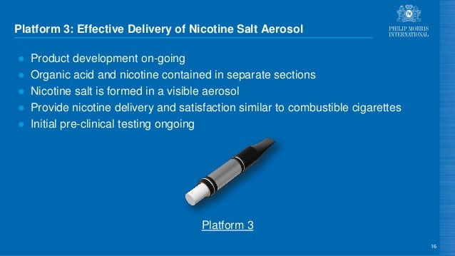 Platform 3: Effective Delivery of Nicotine Salt Aerosol ● Product development on-going ● Organic acid and nicotine contain...