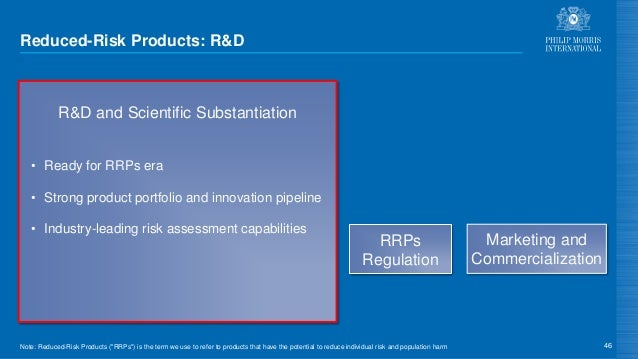 Reduced-Risk Products: R&D 46 R&D and Scientific Substantiation • Ready for RRPs era • Strong product portfolio and innova...
