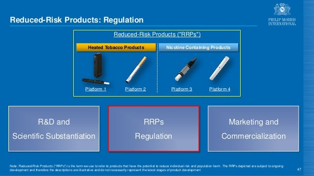 """Reduced-Risk Products: Regulation 47 Note: Reduced-Risk Products (""""RRPs"""") is the term we use to refer to products that hav..."""