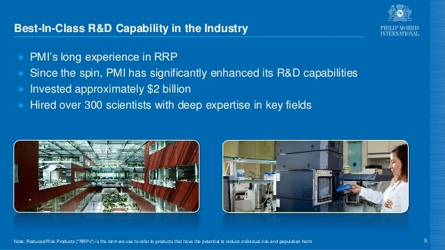 Best-In-Class R&D Capability in the Industry ● PMI's long experience in RRP ● Since the spin, PMI has significantly enhanc...