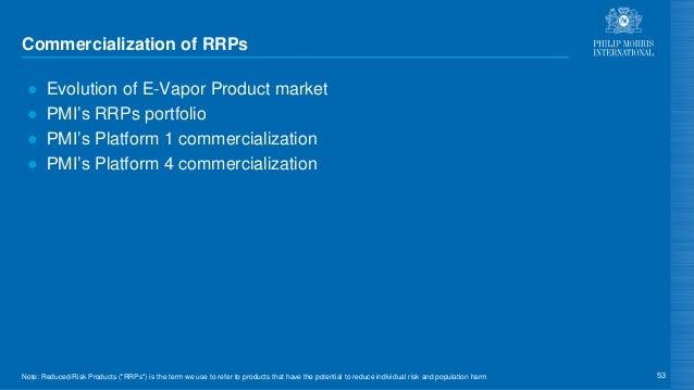 Commercialization of RRPs ● Evolution of E-Vapor Product market ● PMI's RRPs portfolio ● PMI's Platform 1 commercializatio...