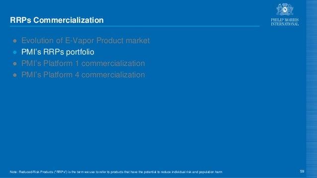 RRPs Commercialization ● Evolution of E-Vapor Product market ● PMI's RRPs portfolio ● PMI's Platform 1 commercialization ●...