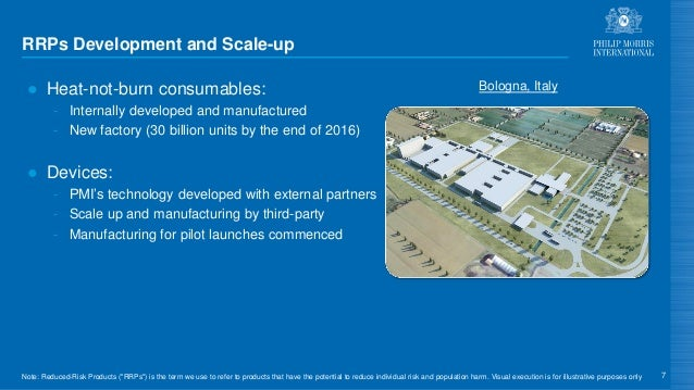 RRPs Development and Scale-up ● Heat-not-burn consumables: - Internally developed and manufactured - New factory (30 billi...