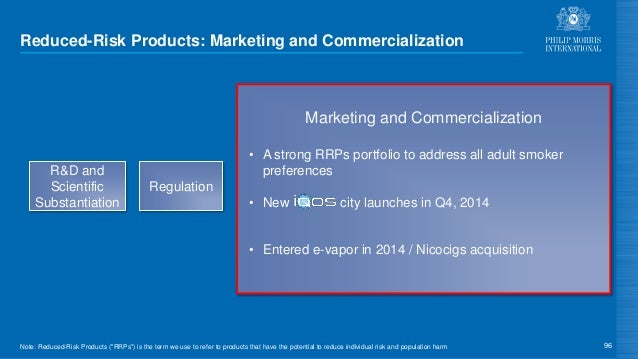 Reduced-Risk Products: Marketing and Commercialization 96 Regulation Marketing and Commercialization • A strong RRPs portf...