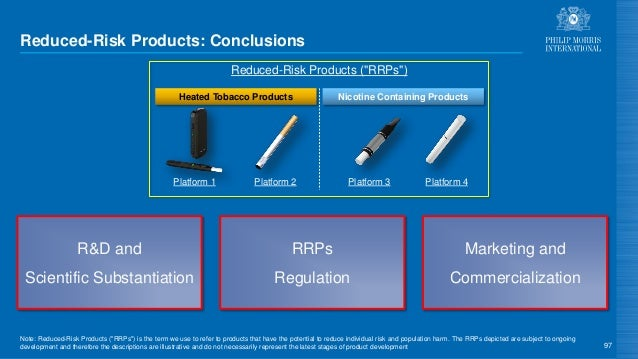 Reduced-Risk Products: Conclusions 97 RRPs Regulation R&D and Scientific Substantiation Marketing and Commercialization Re...