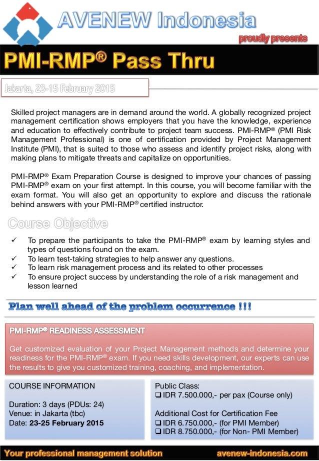 Pmi Rmp Training February Class 2015