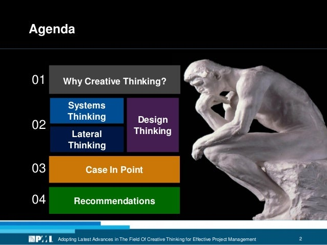 2Adopting Latest Advances in The Field Of Creative Thinking for Effective Project Management Agenda Why Creative Thinking?...