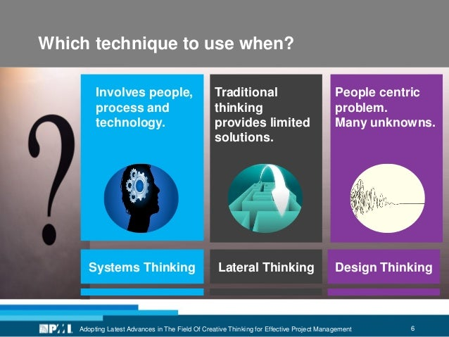 6Adopting Latest Advances in The Field Of Creative Thinking for Effective Project Management Which technique to use when? ...