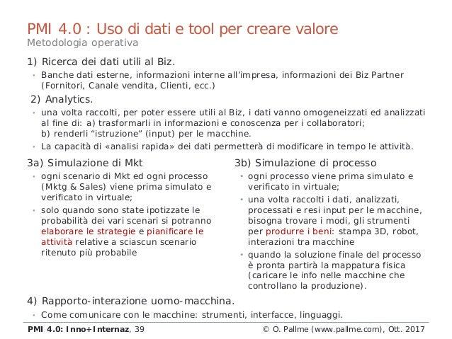 PMI 4.0 : Uso di dati e tool per creare valore 3a) Simulazione di Mkt • ogni scenario di Mkt ed ogni processo (Mktg & Sale...