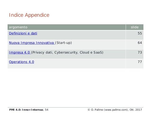 argomento slide Definizioni e dati 55 Nuova Impresa Innovativa (Start-up) 64 Impresa 4.0 (Privacy dati, Cybersecurity, Clo...