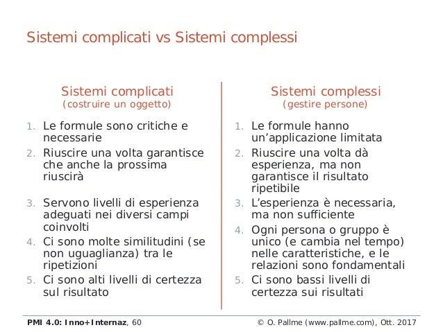 Sistemi complicati vs Sistemi complessi Sistemi complicati (costruire un oggetto) 1. Le formule sono critiche e necessarie...
