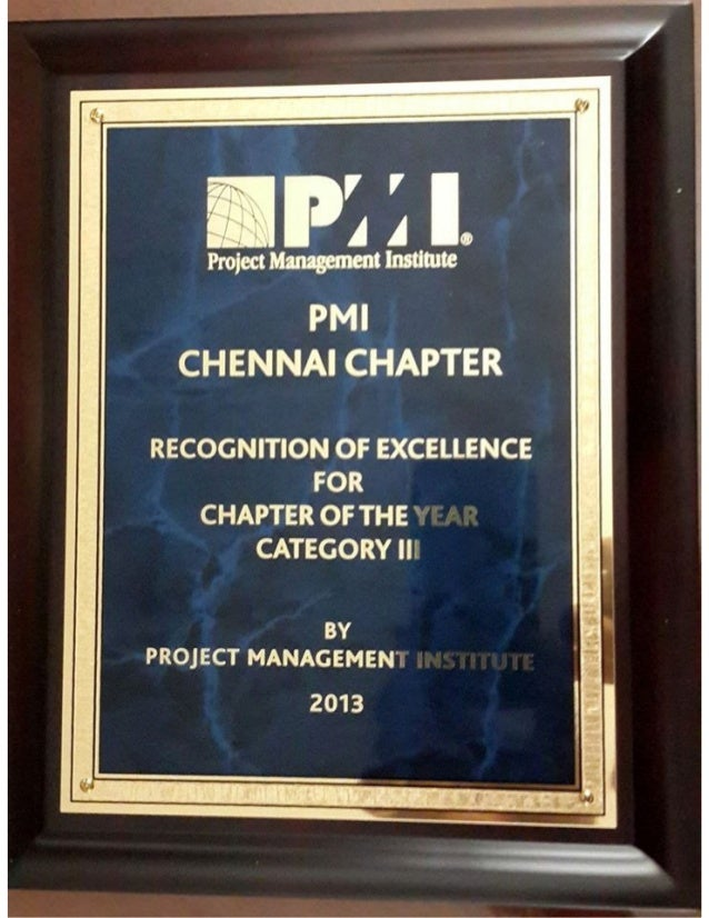 PMI Chennai Chapter Global Award of Excellence 2013 at PMI Global Congress, New Orleans