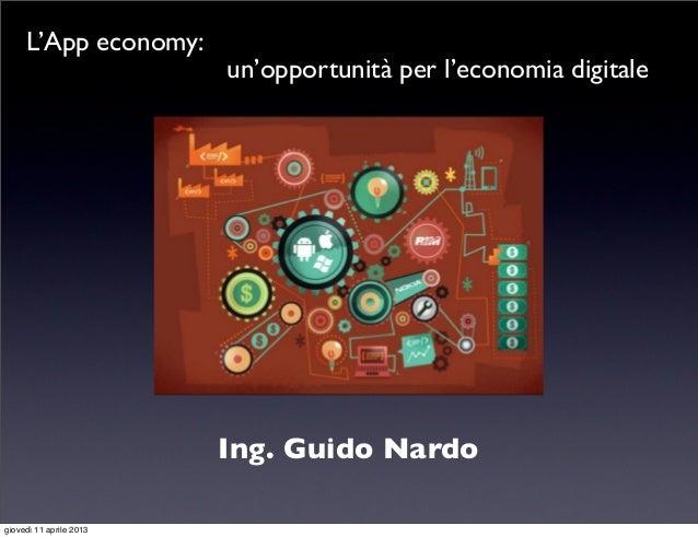 L'App economy:                         un'opportunità per l'economia digitale                         Ing. Guido Nardogiov...
