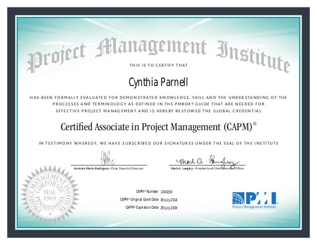 PMI Cynthia Parnell Certified Associate in Project Management Certifi…