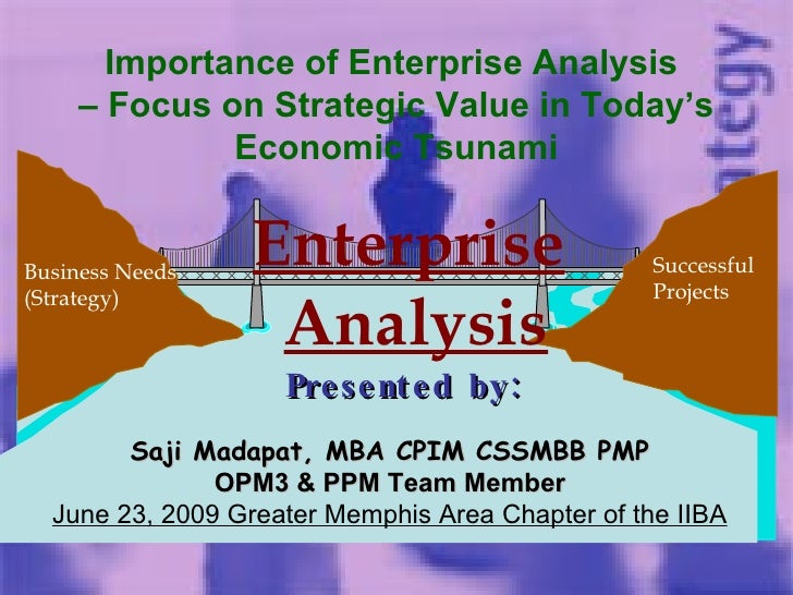Business Needs (Strategy) Successful  Projects Enterprise Analysis Presented by: Saji Madapat, MBA CPIM CSSMBB PMP OPM3 & ...