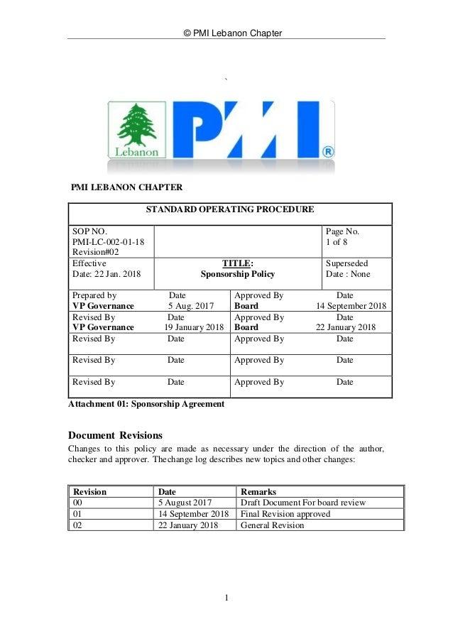 © PMI Lebanon Chapter 1 ` PMI LEBANON CHAPTER STANDARD OPERATING PROCEDURE SOP NO. PMI-LC-002-01-18 Revision#02 Page No. 1...