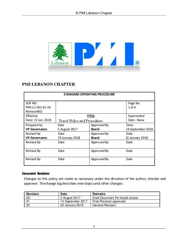 © PMI Lebanon Chapter 1 PMI LEBANON CHAPTER STANDARD OPERATING PROCEDURE SOP NO. PMI-LC-001-01-18 Revision#02 Page No. 1 o...