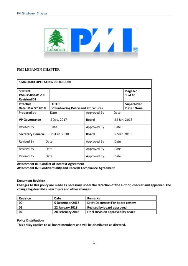 PMI® Lebanon Chapter 1 PMI LEBANON CHAPTER STANDARD OPERATING PROCEDURE SOP NO. PMI-LC-003-01-18 Revision#01 Page No. 1 of...