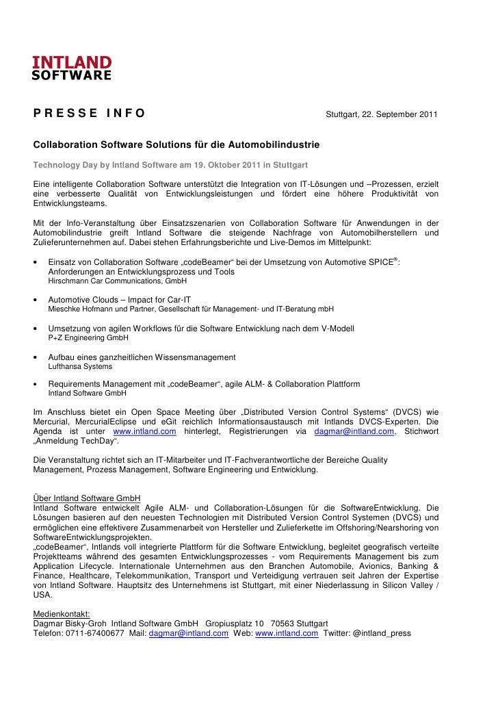PRESSE INFO                                                                     Stuttgart, 22. September 2011Collaboration...
