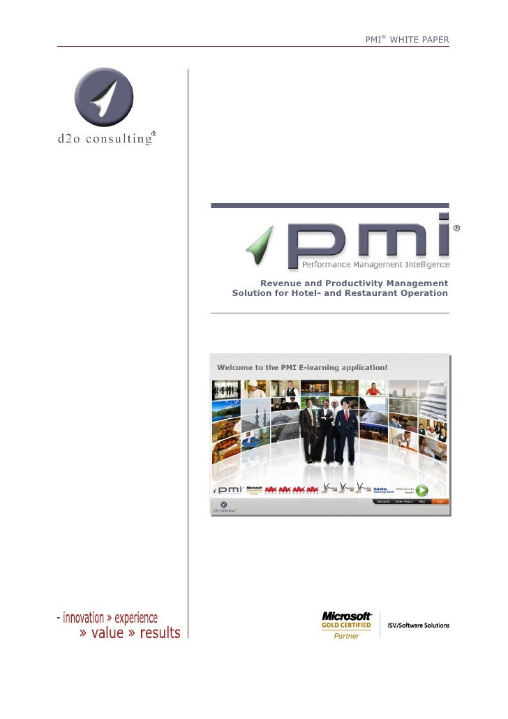 PMI® WHITE PAPER           Revenue and Productivity Management Solution for Hotel- and Restaurant Operation