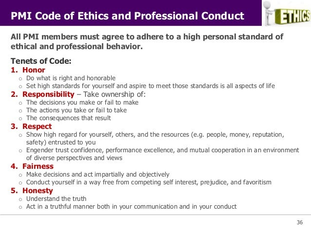 Pmi project management principles for Company code of ethics template