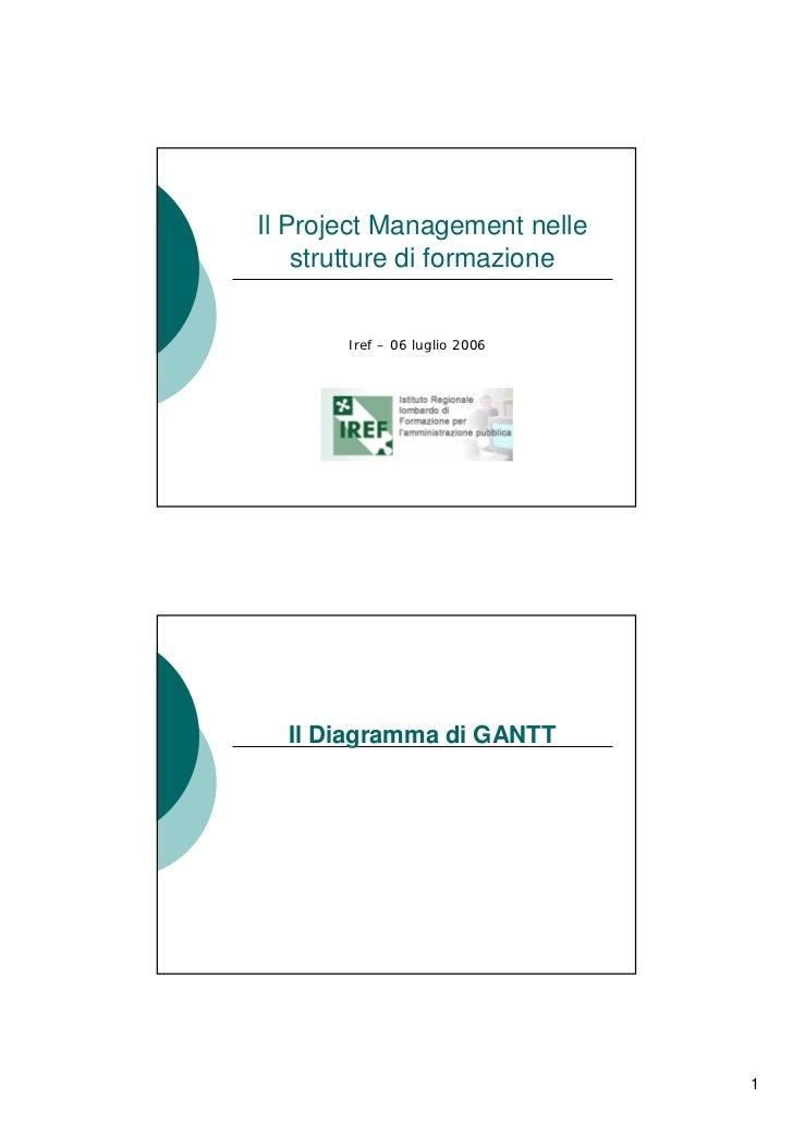 Il Project Management nelle     strutture di formazione          Iref – 06 luglio 2006       Il Diagramma di GANTT        ...