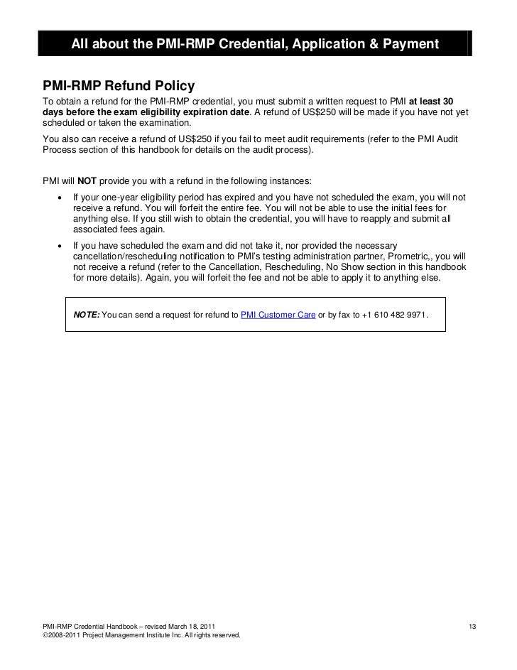 All about the PMI-RMP Credential, Application & PaymentPMI-RMP Refund PolicyTo obtain a refund for the PMI-RMP credential,...
