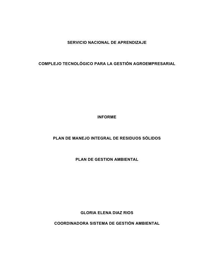 SERVICIO NACIONAL DE APRENDIZAJECOMPLEJO TECNOLÓGICO PARA LA GESTIÓN AGROEMPRESARIAL                      INFORME     PLAN...
