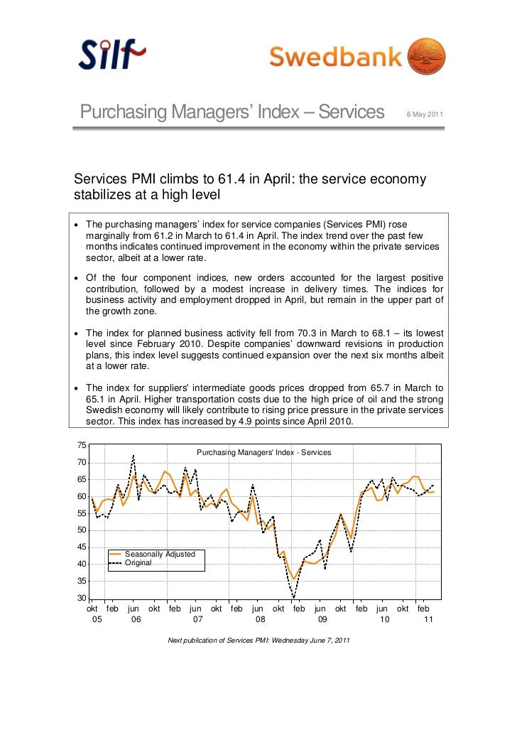 Purchasing Managers' Index – Services                                                         6 May 2011Services PMI climb...