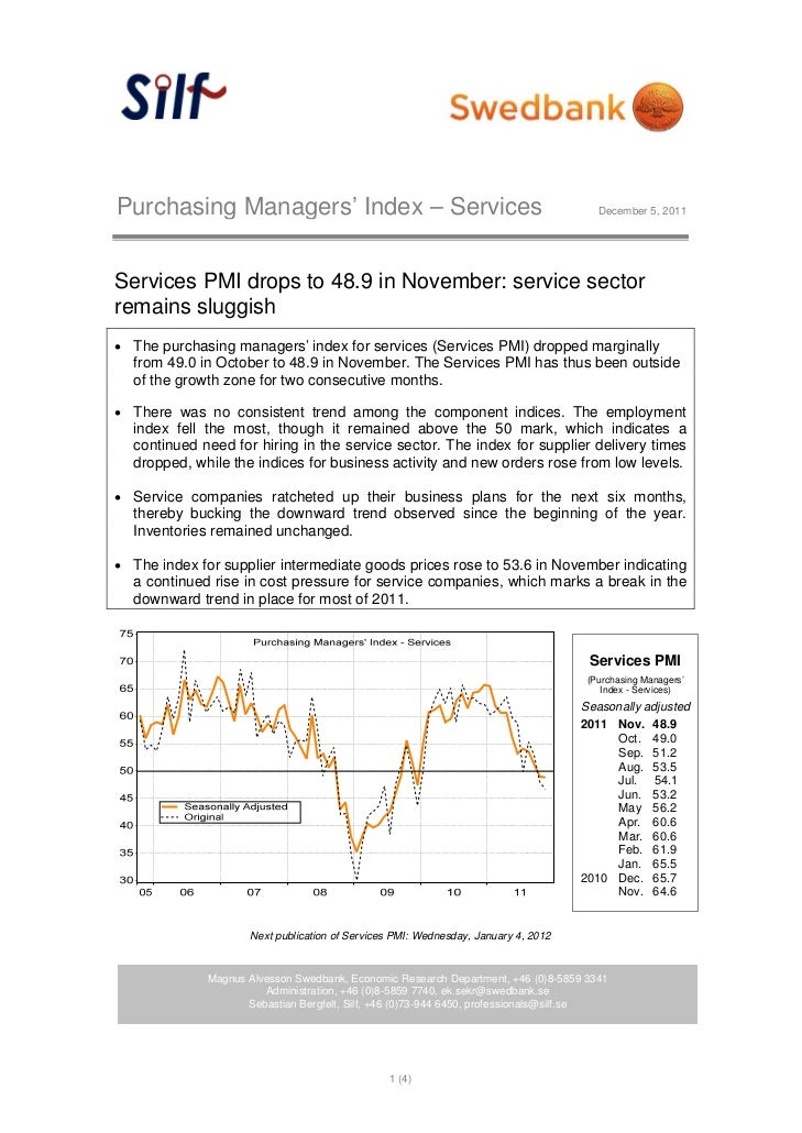 Purchasing Managers' Index – Services                                                  December 5, 2011Services PMI drops ...