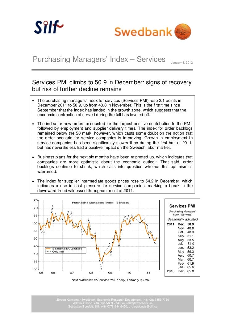 Purchasing Managers' Index – Services                                                      January 4, 2012Services PMI cli...