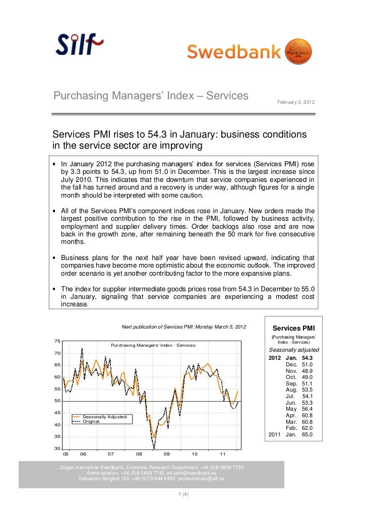Purchasing Managers' Index – Services                                                   February 3, 2012Services PMI rises...