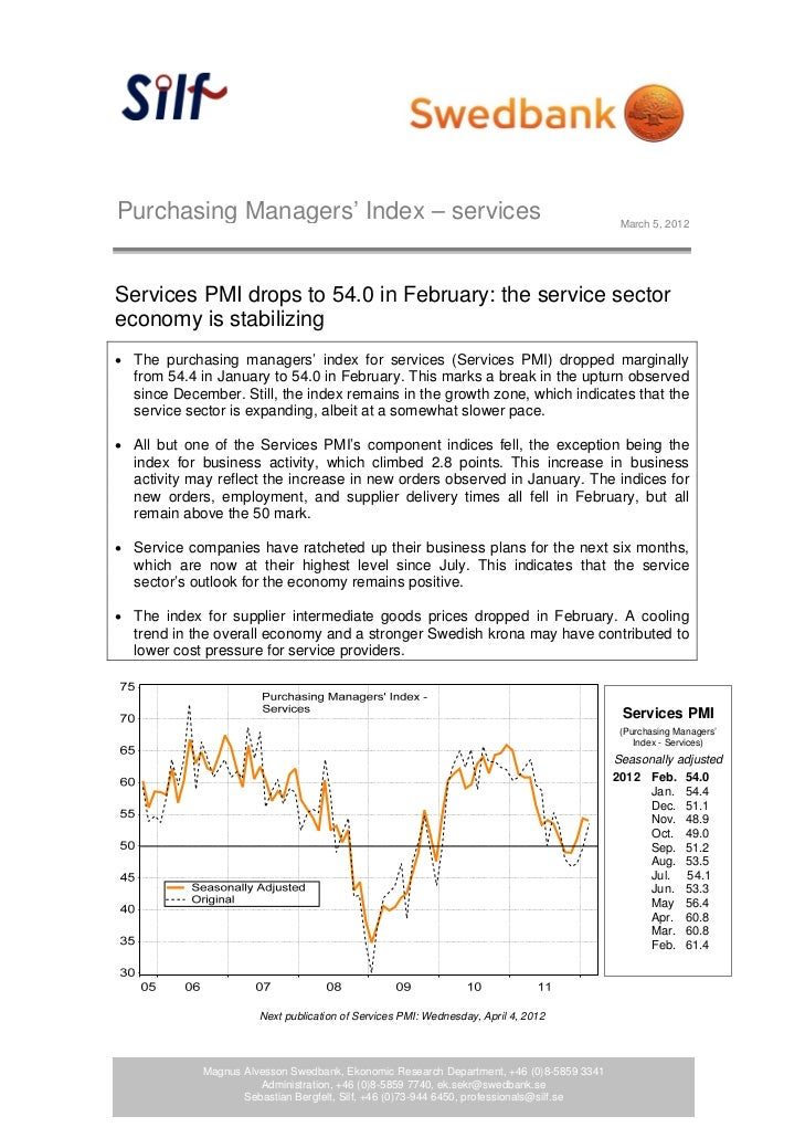 Purchasing Managers' Index – services                                                      March 5, 2012Services PMI drops...