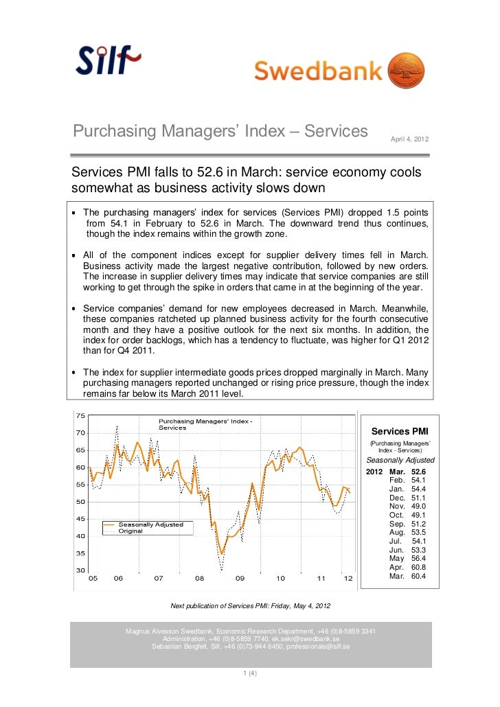 Purchasing Managers' Index – Services                                                     April 4, 2012Services PMI falls ...