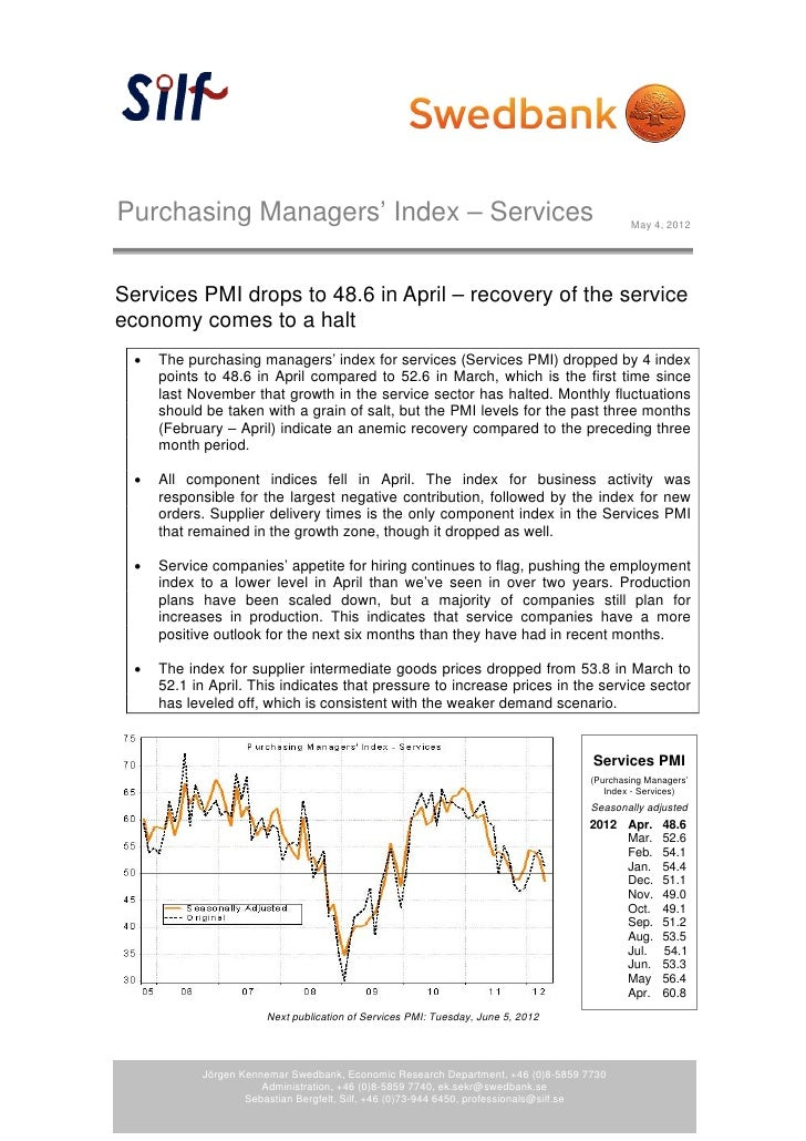 Purchasing Managers' Index – Services                                                       May 4, 2012Services PMI drops ...