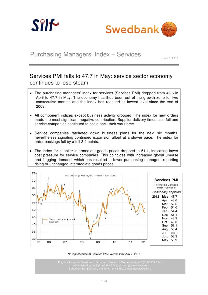 Purchasing Managers' Index – Services                                                    June 5, 2012Services PMI falls to...