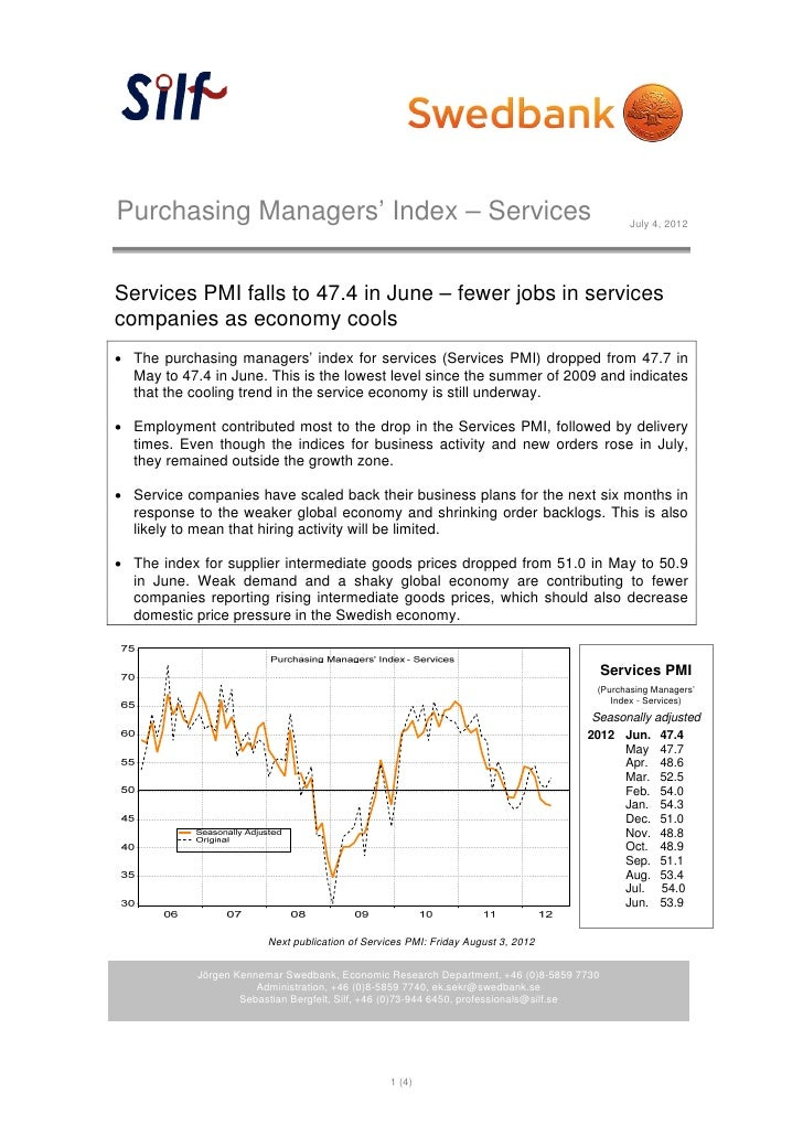 Purchasing Managers' Index – Services                                                        July 4, 2012Services PMI fall...