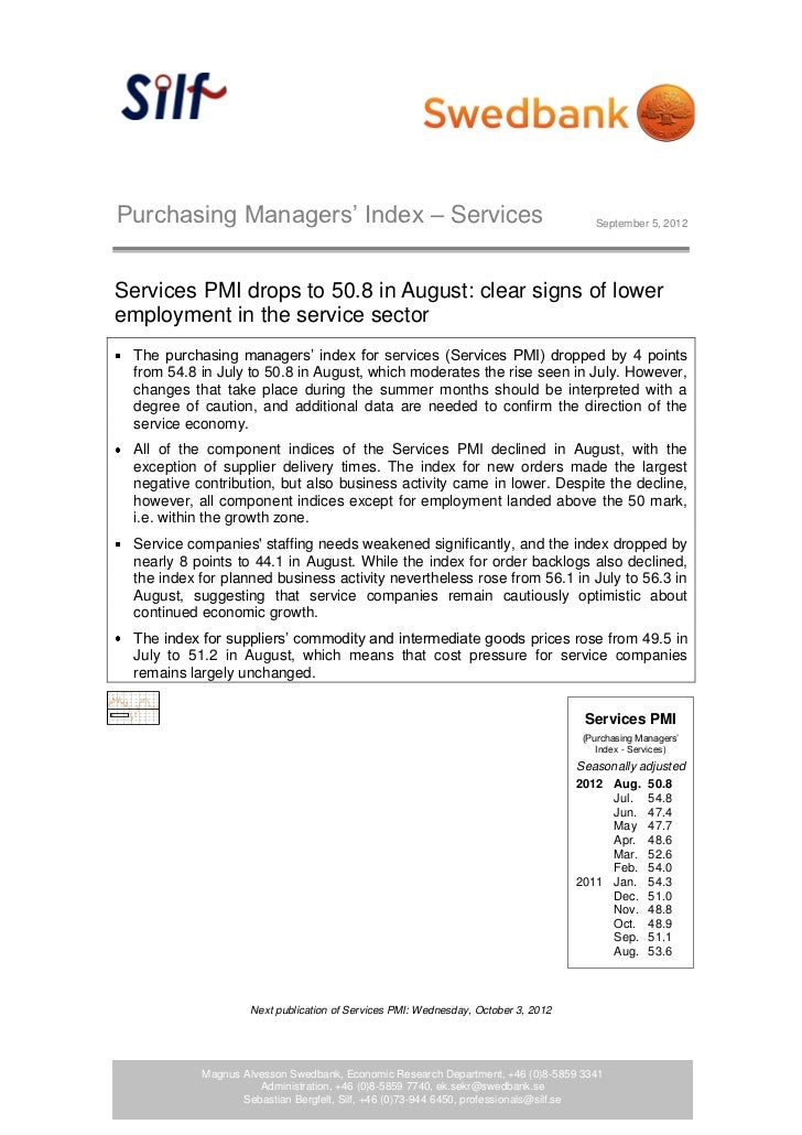 Purchasing Managers' Index – Services                                                 September 5, 2012Services PMI drops ...