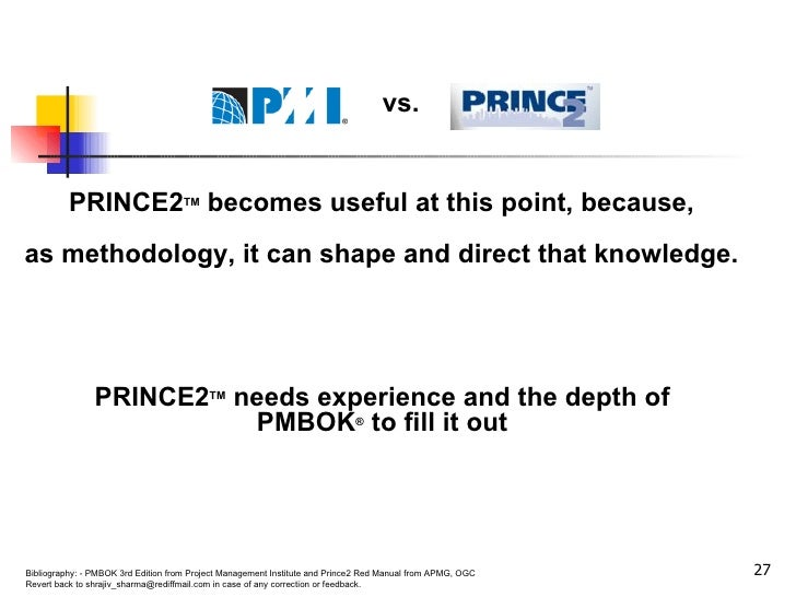 PRINCE2 TM  becomes useful at this point, because,  as methodology, it can shape and direct that knowledge.  PRINCE2 TM  n...