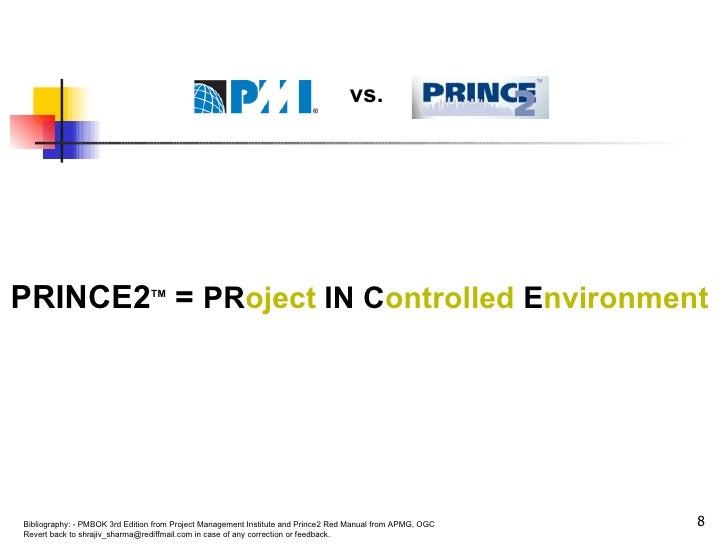PRINCE2 TM  =  PR oject  IN C ontrolled  E nvironment vs.
