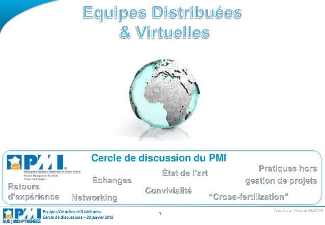 Animé par Vincent DUMAINEquipes Virtuelles et Distribuées Cercle de discussions – 20 janvier 2012 SUD | MIDI-PYRÉNÉESSUD |...