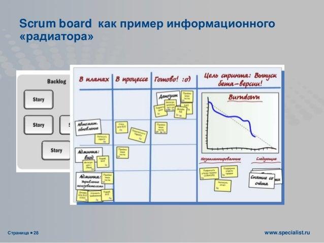 Страница  28 www.specialist.ru Scrum board как пример информационного «радиатора»