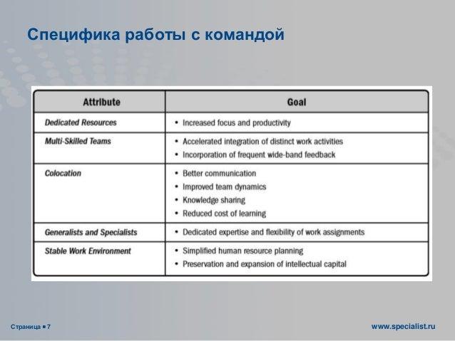 Страница  7 www.specialist.ru Специфика работы с командой