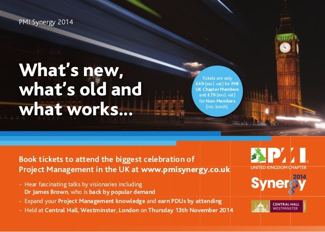 Book tickets to attend the biggest celebration of Project Management in the UK at www.pmisynergy.co.uk What's new, what's ...