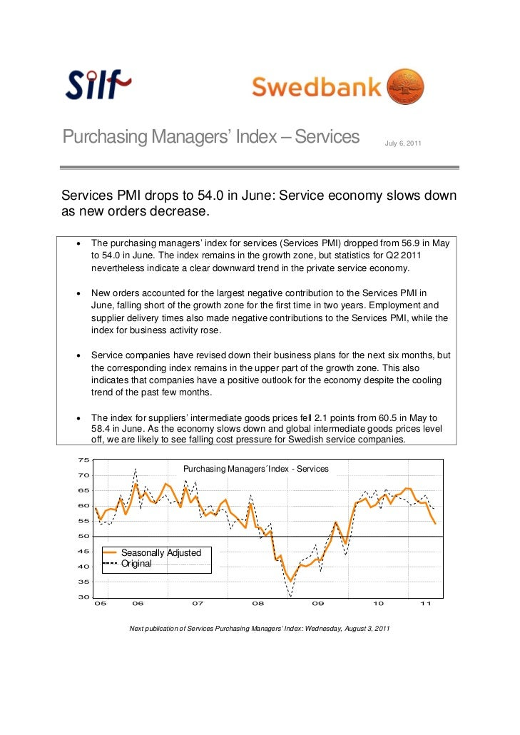 Purchasing Managers' Index – Services                                                              July 6, 2011Services PM...