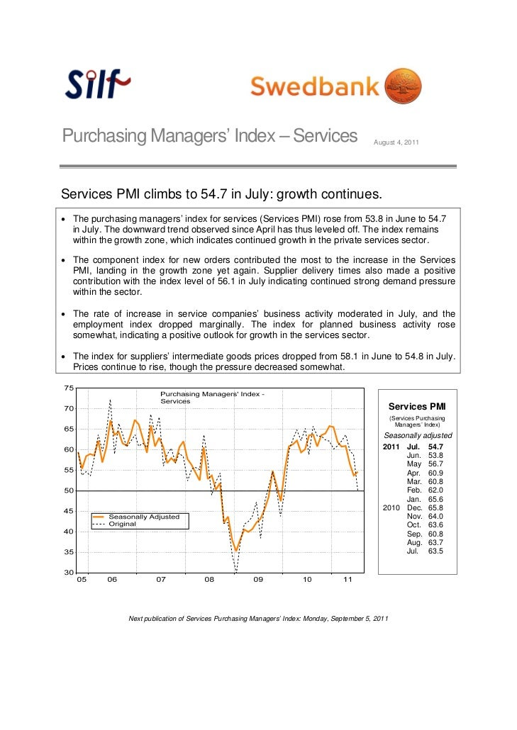 Purchasing Managers' Index – Services                                                        August 4, 2011Services PMI cl...