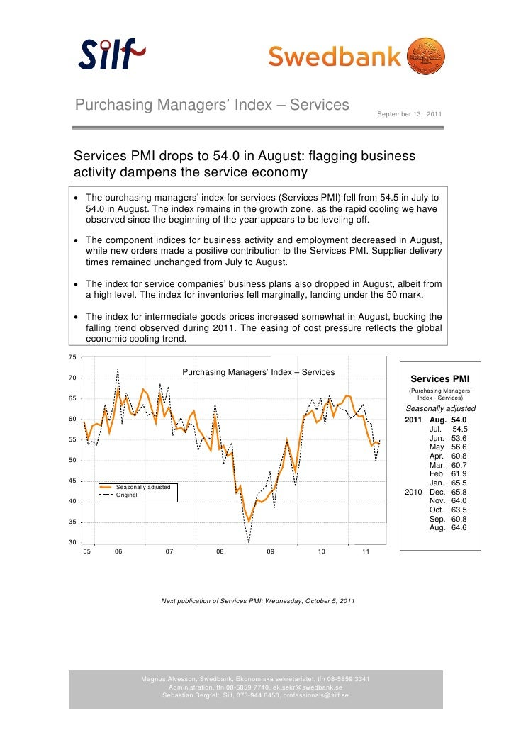 Purchasing Managers' Index – Services                                                        September 13, 2011   Services...
