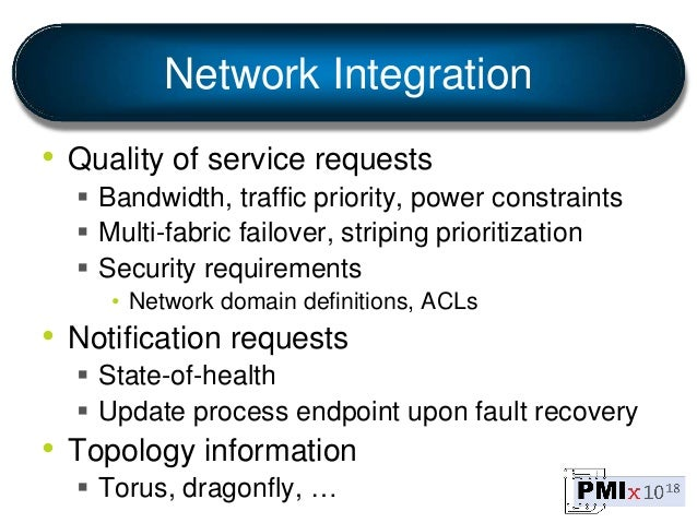 Network Integration • Quality of service requests  Bandwidth, traffic priority, power constraints  Multi-fabric failover...