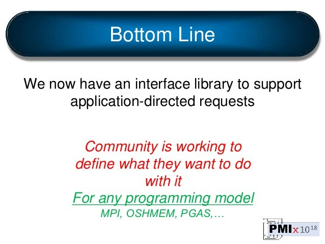 Bottom Line We now have an interface library to support application-directed requests Community is working to define what ...